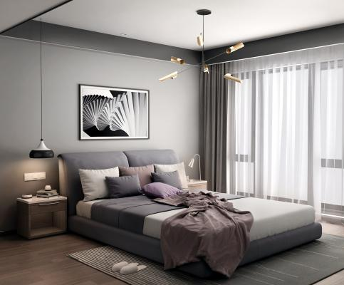 现代简约床 灯具 床头柜