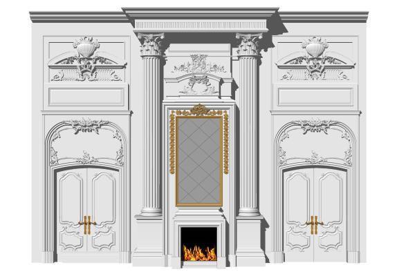 欧式装饰墙 雕花护墙板 背景墙 壁炉 罗马柱