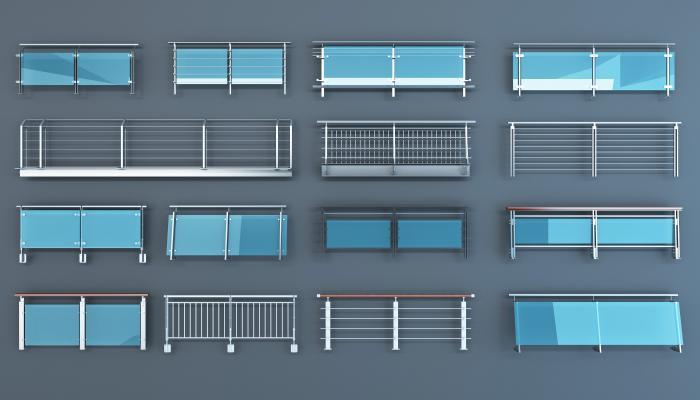 现代五金件 玻璃栏杆