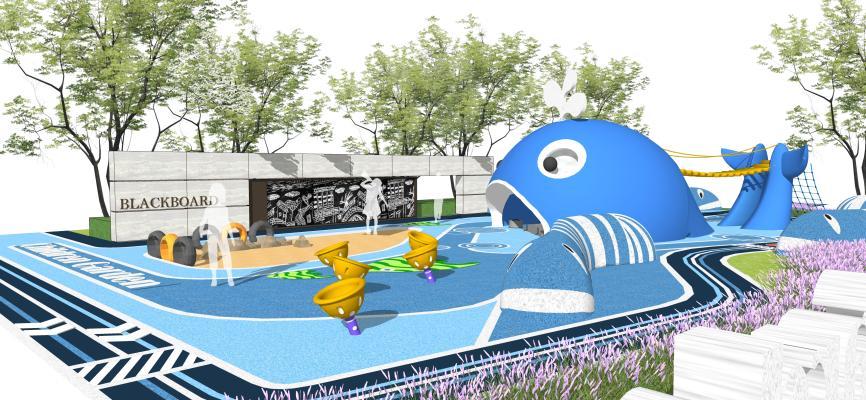 現代風格海洋風格兒童活動區 住宅小區景觀 鯨魚滑梯