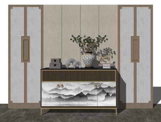 新中式玄关柜 艺术品摆件 瓷器