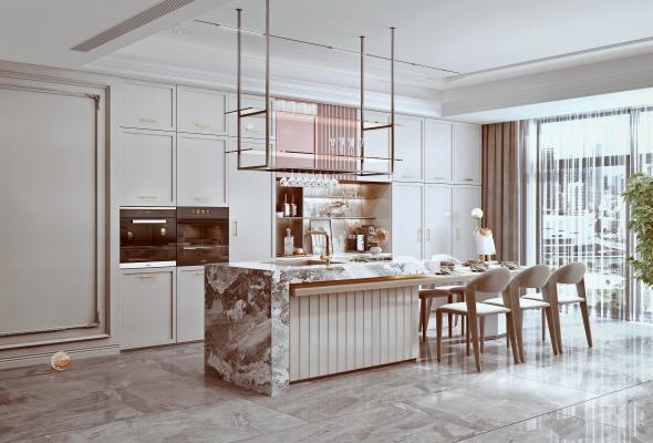法式家居厨房 餐厅 橱柜