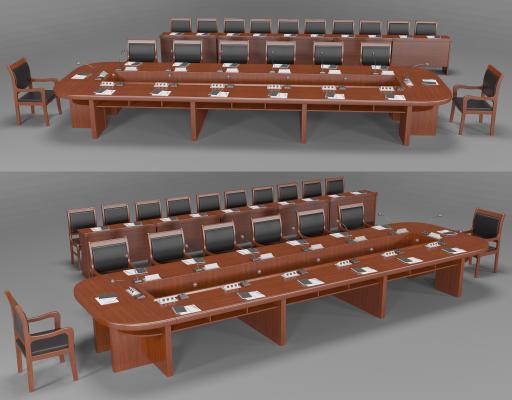 新中式会议桌椅组合