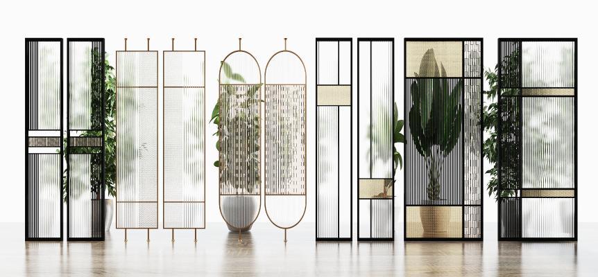 现代玻璃隔断屏风