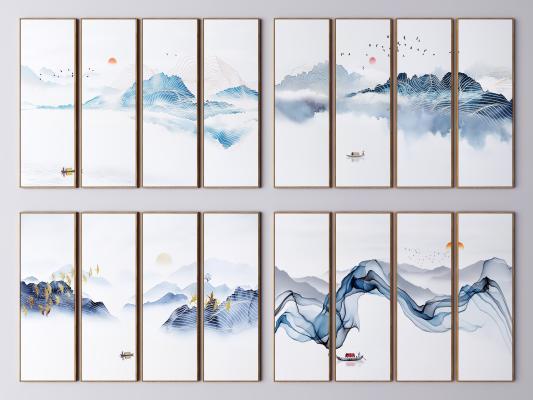 新中式装饰画 山水画 水墨山水画