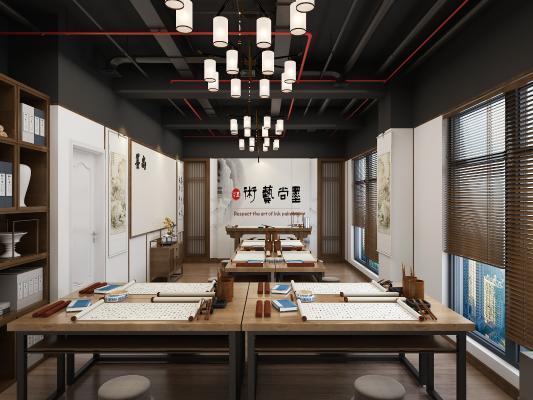 新中式书法培训室 吊灯 挂画