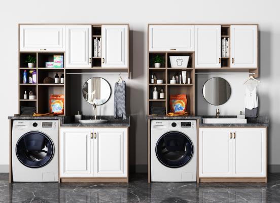 现代洗衣机摆件组合 镜子 洗衣机