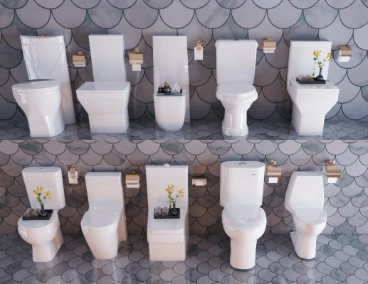 现代卫生间马桶 坐便器组合