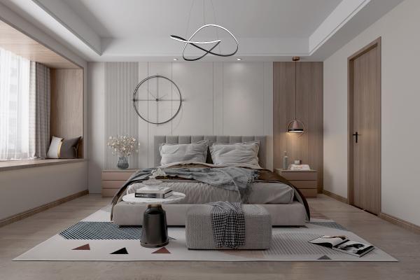 现代卧室 吊灯 地毯