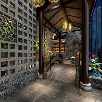 新中式餐厅 门厅 水景 荷花