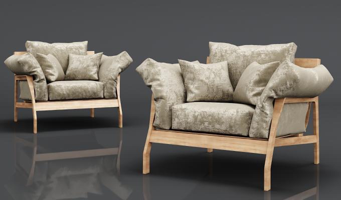 现代实木绒布沙发
