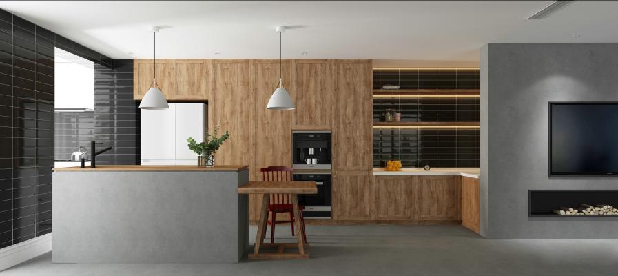 现代别墅开放式厨房