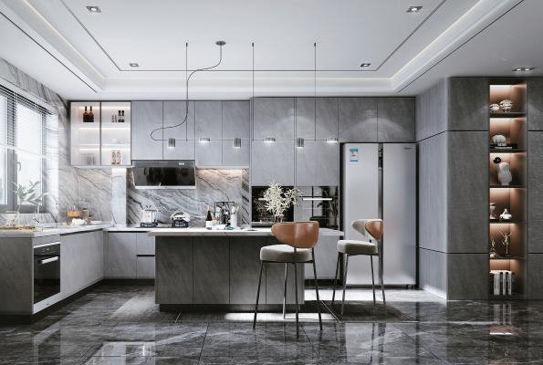 现代开放式厨房 橱柜 油烟机灶具