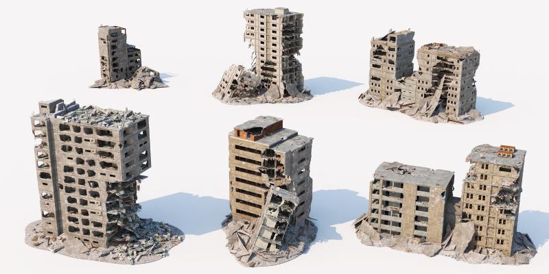 现代建筑废墟 垃圾站 建筑残骸