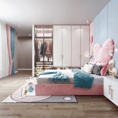 现代风格儿童房 女孩房 儿童床 衣柜