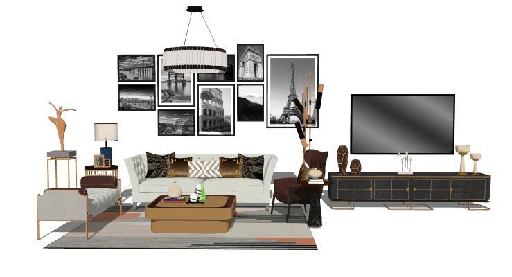现代轻奢客厅 沙发茶几 电视柜组合