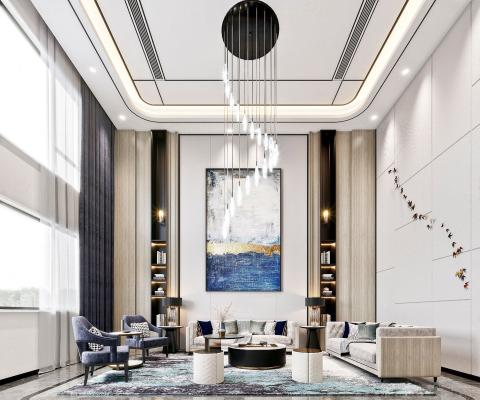 新中式复式别墅客厅