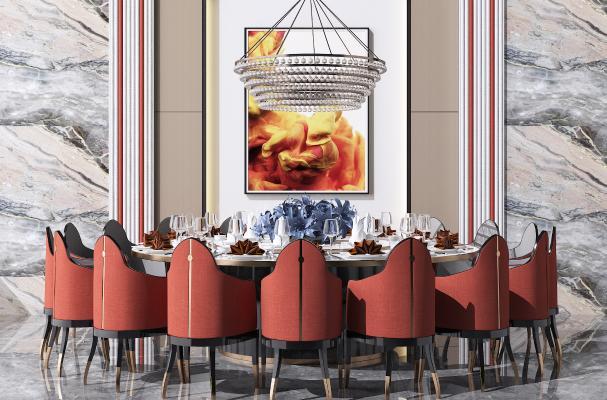 新中式圆形餐桌椅组合 水晶吊灯 挂画