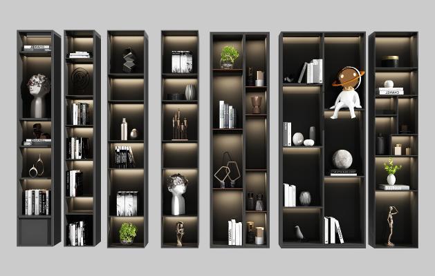 现代背景墙 书架