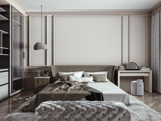 现代轻奢双人床组合 床头柜