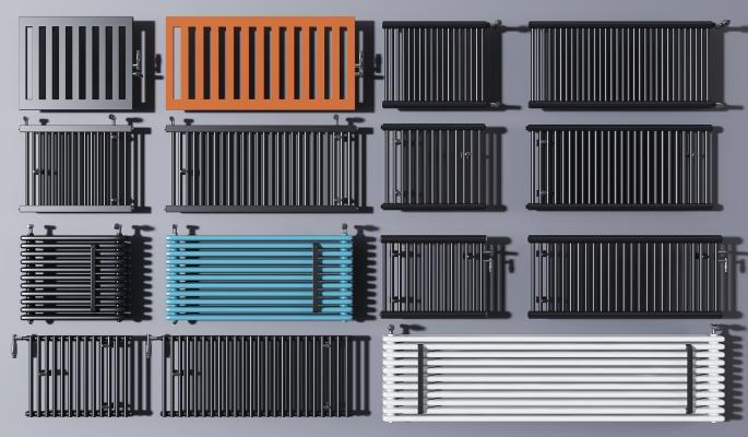 现代暖气片取暖器组合 五金件 暖气片