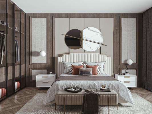 现代双人床组合 床头柜