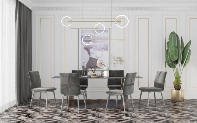 北欧餐厅 餐桌椅组合 餐椅 吊灯 背景墙