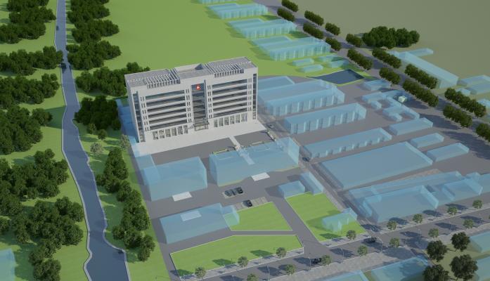 现代医院鸟瞰 办公楼