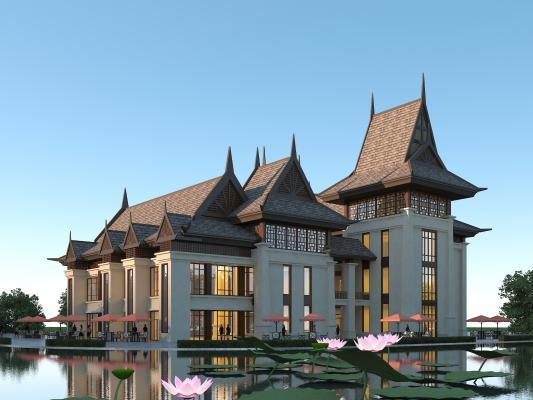 东南亚风格商业街 版纳风格商业街 会所 商业街 酒店