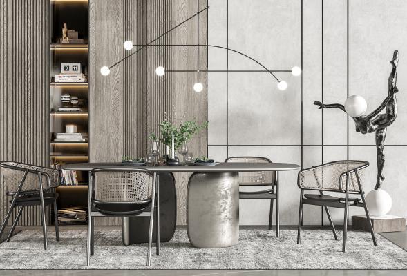 現代餐桌椅 吊灯 雕塑