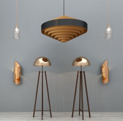 现代金属吊灯落地灯壁灯组合