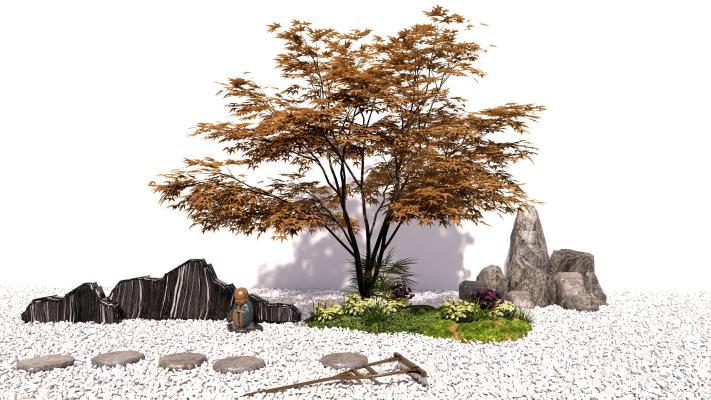 新中式景观小品 树 石头