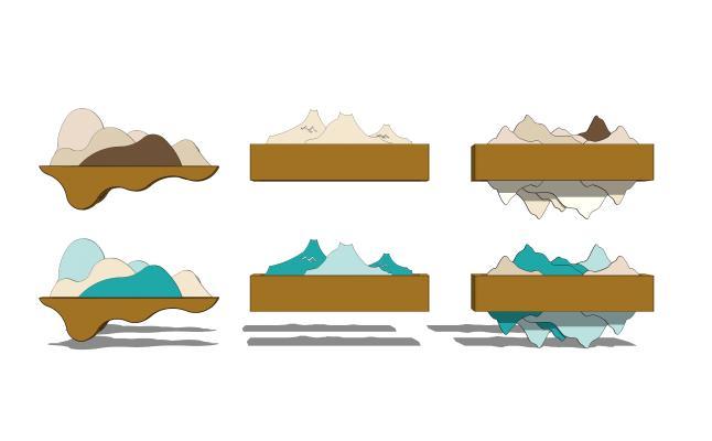 新中式金属假山装饰壁灯组合