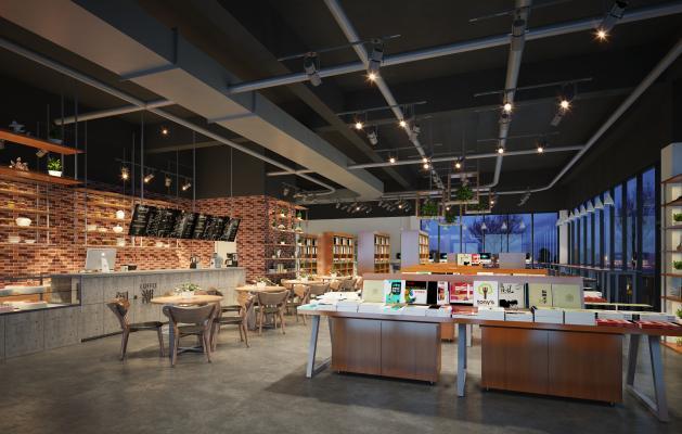 工业风咖啡厅 面包房