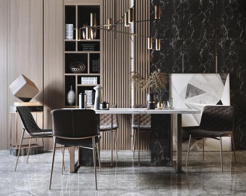现代轻奢金属餐桌椅 吊灯组合