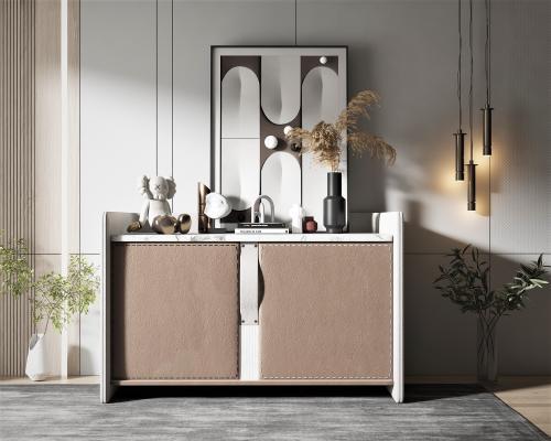 现代风格边柜,装饰画,饰品摆件