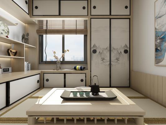 日式茶室 吊灯 双人床