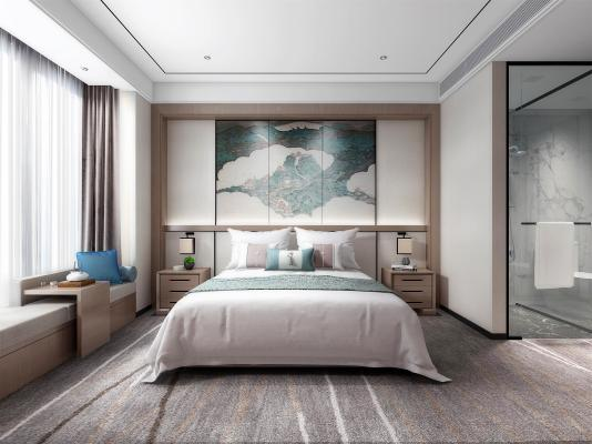 新中式酒店客房 雙人間 大床房 標準間