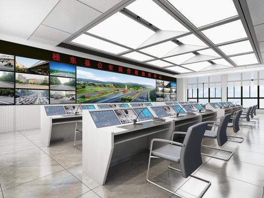 现代监控室 显示屏 调度大厅