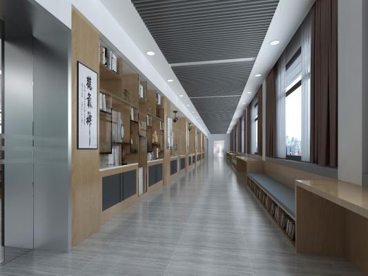 新中式图书馆 书柜 书 书架