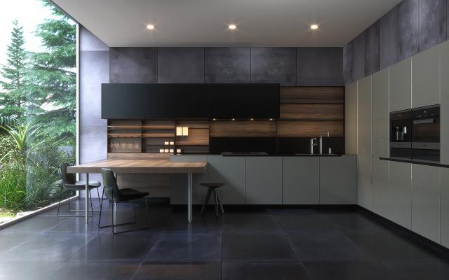 现代厨房 吧台 吧椅 厨具