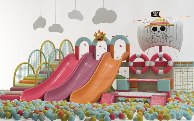 现代游乐场 滑梯 海洋球 儿童玩具 淘气堡