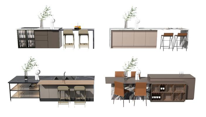 现代橱柜 中岛台 桌椅组合