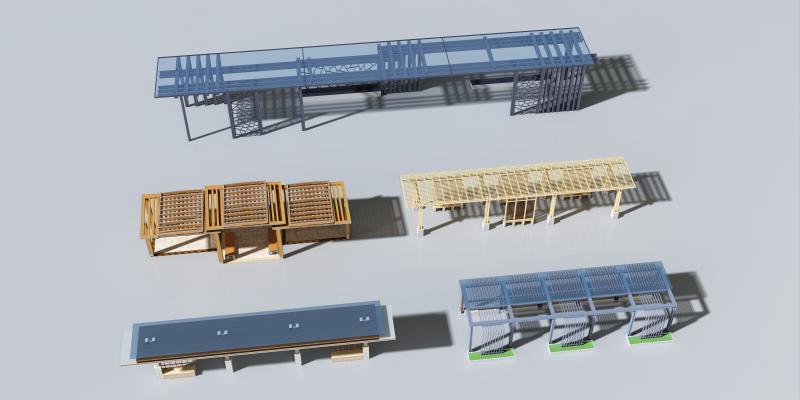 现代廊架组合 过道凉亭 玻璃方钢廊架 凉亭