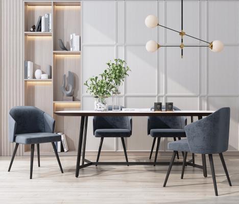 现代餐桌椅组合 吊灯