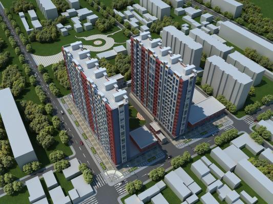 现代住宅小区鸟瞰规划