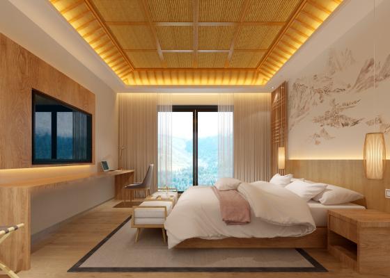 新中式酒店客房 吊燈 壁畫