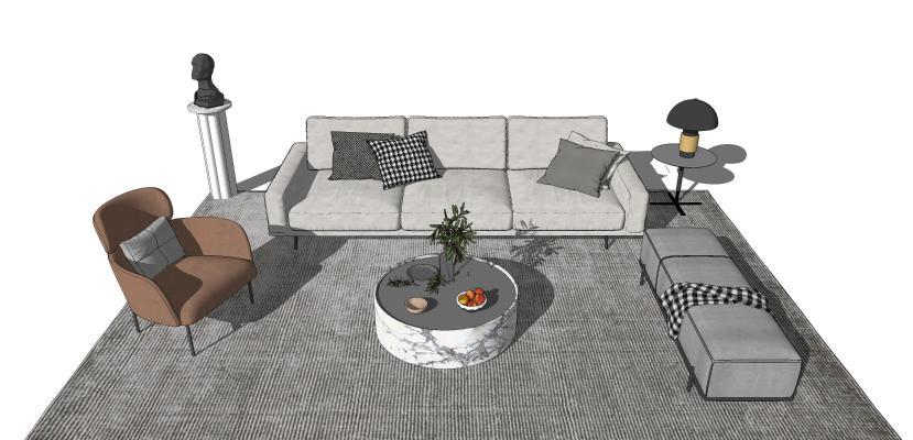 现代沙发茶几组合 摆件