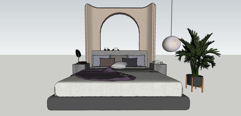 现代风格双人床 床具组合
