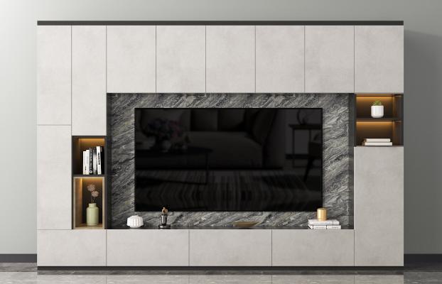 现代电视背景墙 电视柜